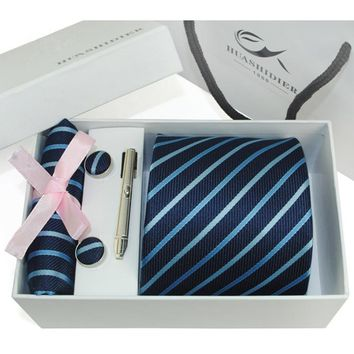 Silk Mens Tie, Cufflink, Hanky and Tie Clip Set With Gift Box