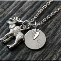 Silver Moose Charm Necklace, Initial Charm Necklace, Personalized, Moose Pendant, Wild Life Jewelry, Monogram Forest Animal Necklace
