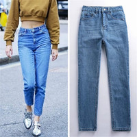 High Waist Denim Pants Autumn Slim Women's Fashion Rinsed Denim Jeans [10203233031]