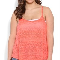 Plus Size Neon Aztec Burnout Tank Top