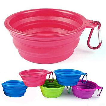 Foldable Dog Cat Pet Travel Food Feeding Bowl Water Dish Portable Silicone Bowl