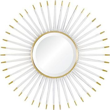 Quick Overview:Acrylic & Brass Starburst Mirror