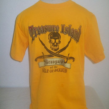 0904 Orange Treasure Island Gulf of Mexico Pirate Skull Crossbones T Shirt / Size S