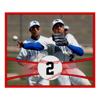 Red Baseball Custom Photo and Jersey Number Poster