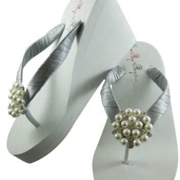 Silver Bridal Flip Flops with Pearl Embellishment- 3.5 inch heel on White or Ivory