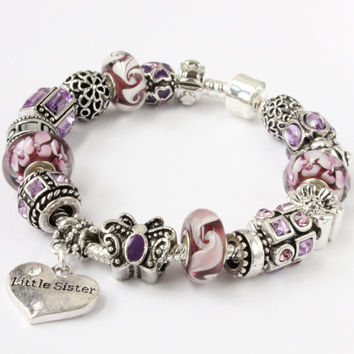 Little Sister bracelet or Big Sister European charm bracelet purple Murano glass beads gift for sister Big Sis Lil Sis sisters jewelry