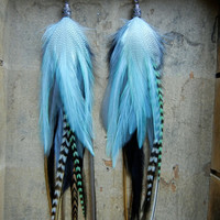 SALE 20 Percent OFF the ENTIRE shop - Mint Mojito Extra Long Feather Earrings