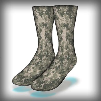 Digital Camo Crew Socks Novelty Streetwear