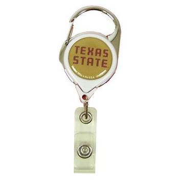 """Licensed Texas State Bobcats 1.5"""" x 2.5"""" Retractable Badge Holder Key Chain St Wincraft KO_19_1"""