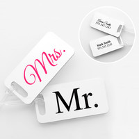 Mr. & Mrs. Personalized Luggage Tags (Set of 4)