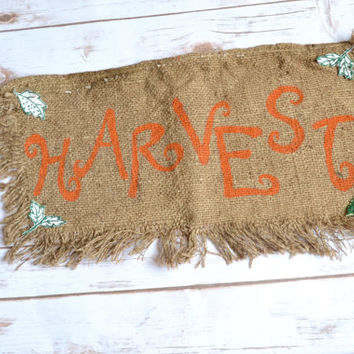 Fall Burlap Banner  - Thanksgiving decor - HARVEST banner - burlap banner - fall mantle decor - thanksgiving table runner - harvest decor