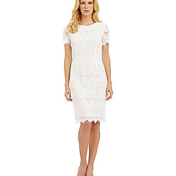 Preston & York Felicia Ruff Scalloped Hem Lace Dress - Ivory White