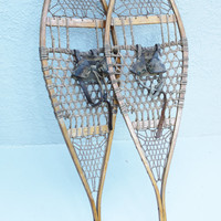 Authentic Antique Wooden Snowshoes, Wood Snowshoes 14 x 48