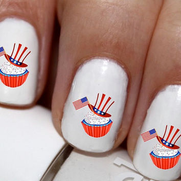 20 pc 4TH Of July Red White And Blue Cupcake Nail Art Nail Decals #cg235na