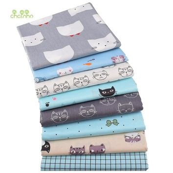 Chainho,Cat Series, Printed Twill Cotton Fabric,For DIY Quilting Sewing Baby&Child Sheet,Pillow,Cushion Material,Half Meter
