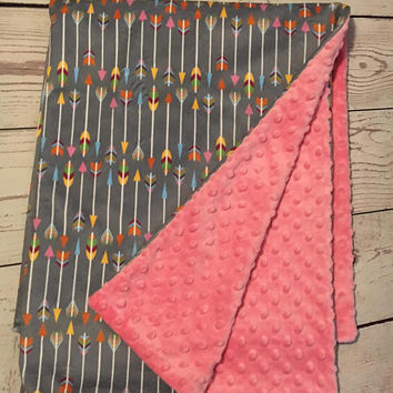Personalized Minky Baby Blanket,Gray Arrow Print,Pink Minky Blanket,Monogrammed,Baby Gift,Tribal Blanket,Baby Stuff,Baby Bedding,Pink & Gray