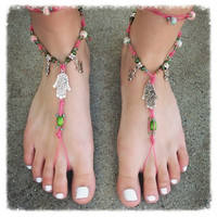 Handmade Pink & Green Hand of Fatima Barefoot Sandals