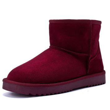 Waterproof snow boots with high-level increase with warm velvet boots Wine red