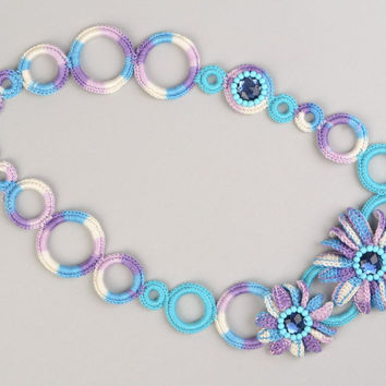 Handmade beautiful designer necklace woven of colored threads with flowers