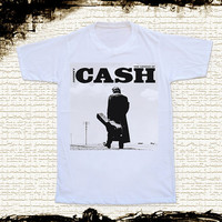 Size M -- JOHNNY CASH Shirts Country Rock Shirts Rock And Roll T Shirts Unisex T Shirts Women T Shirts White T Shirts Johnny Cash T Shirts