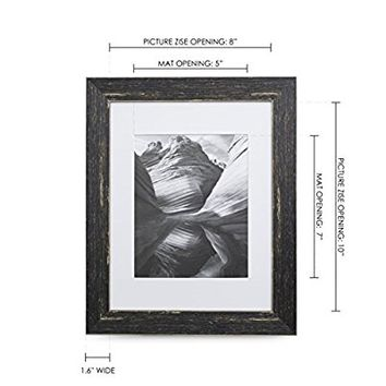 8x10 Picture Frame Barnwood Brown - Matted to 5x7, Frames by EcoHome