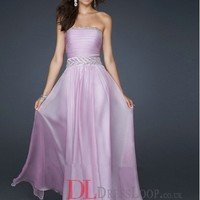 A-Line Strapless Sleeveless Chiffon Prom Dress/Evening Dresses With Beaded VTBK308