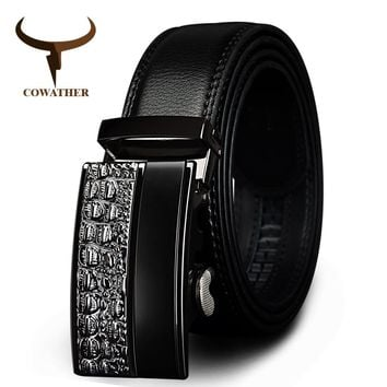 COWATHER men's fashion100% Genuine Leather belts for men High quality metal automatic buckle Strap male Jeans cowboy free shippi