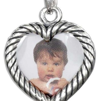 Sterling Silver Double Sided Heart Picture Frame Charm