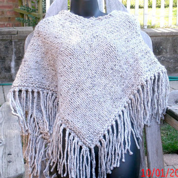 Hand Knit Poncho - Women's Poncho - Knitted Poncho