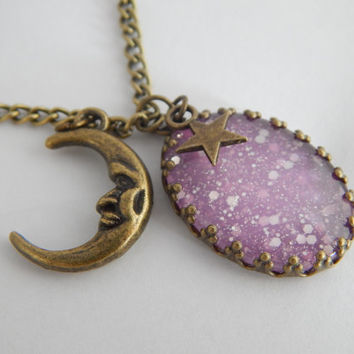 Moon Dust Mood Necklace - Pink Shades - Mood Stone - Mood Rings - Mood Jewelry - Mood Necklaces - Charm Necklaces - Glitter Necklaces- Pink