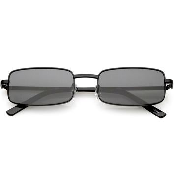 Classic Small Metal Rectangle Sunglasses Neutral Colored Flat Lens 54mm