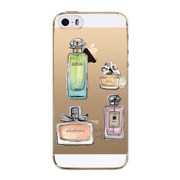 Luxury Perfume Bottle Floral Transparent Soft Silicone Phone Back Cover Case For iPhone 5 5S SE