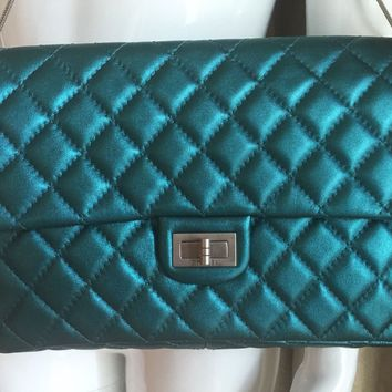 Authentic CHANEL Metallic Turquoise LEATHER 2.55 Classic Flap BAG/ Clutch