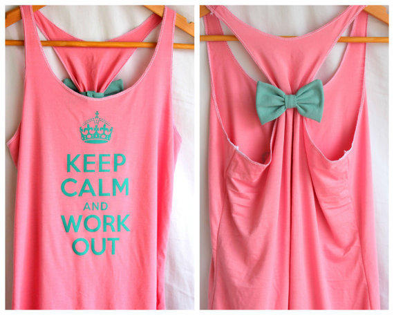 Keep Calm and Work Out Bow Tank - Small