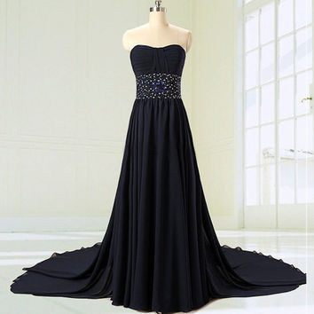 Sweetheart Long Prom dress With Beadings