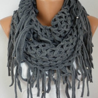 Infinity Scarf Loop Scarf Circle Scarf Fabric Knitted by fatwoman