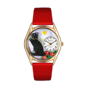 Whimsical Watches Healthcare Nurse Gift Accessories Basking Cat Yellow Leather And Goldtone Watch