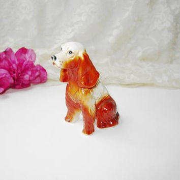 Cocker Spaniel Dog Bone China Vintage Glazed Porcelain Ceramic Collectible Miniature Animal Dog Figure Nature Figurine Pet Lover Home Decor