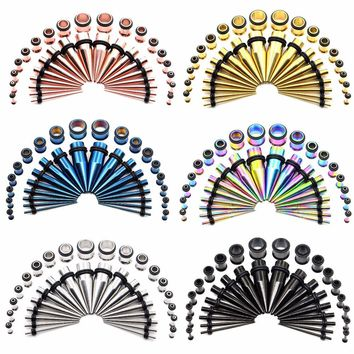Stainless Steel Ear Taper Kit Stretching Set with Single Flare Plug Tunnel Gauges O-rings 14G-00G 36 Pieces