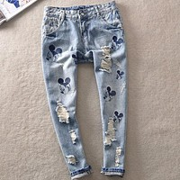 Loose Straight Jeans cartoon new casual women hole jeans