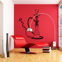 Wall Decal Sticker Hookah Hooka Shisha Lounge Relax Inscription Bar Hause M1571