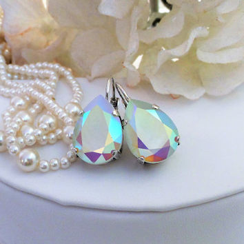Powder Green AB 13x14 Swarovski Crystal Pear Lever Back Earrings, Soft Green, Bridal, Dangles, Drops, DKSJewerydesigns, FREE SHIPPING