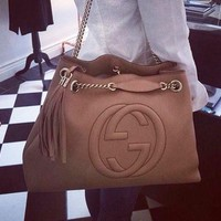 Gucci Women Shopping Chain Leather Crossbody Satchel Shoulder Bag G-MYJSY-BB