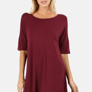 Essential Drop Shoulder Half Sleeve Tunic Top