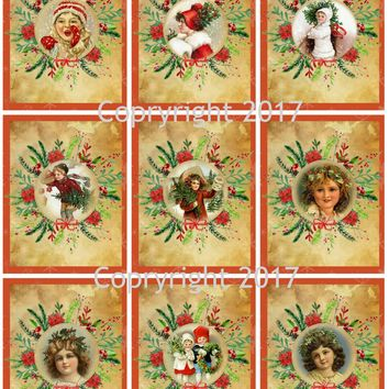 Victorian Images Vintage Christmas Graphics Collage Sheet, Digital Scrapbooking, Prints, ATC, Gift Tags