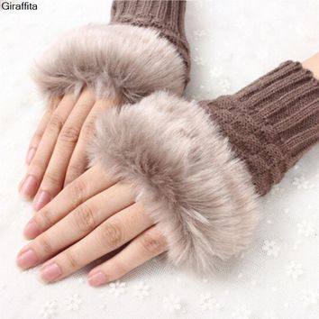 New Winter Cute Warm Plush Thick Knitted Warm Gloves Female Plush Fingerless Knitted Wrist Gloves Women Faux Fur Warm Gloves