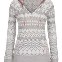 Lightweight Ethnic Print French Terry Hoodie - Gray
