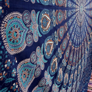 Blue peacock feather mandala hippie tapestries,indian tapestries,dorm tapestry,bohemian tapestry,wall art,psychedelic tapestry