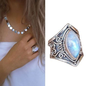 Antique Large Boho Jewelry Silver Plated Moonstone Gems Ring Wedding Engagement Jewelry US Size 5-11 #267947