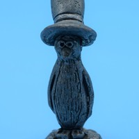 Pewter Penguin wearing Top Hat Figurine Vintage Metal Animal Figure Cake Topper Penguin Collectible Shadowbox Figurine Statue Birthday Gift